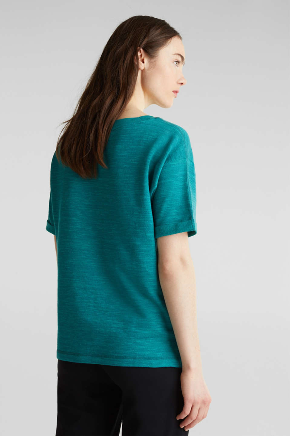 Textured top in blended cotton, TEAL GREEN, detail image number 2