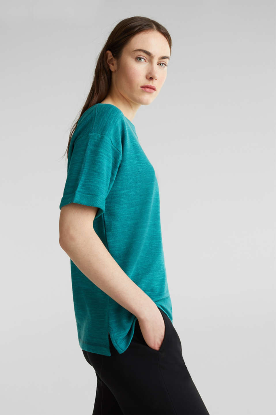 Textured top in blended cotton, TEAL GREEN, detail image number 4