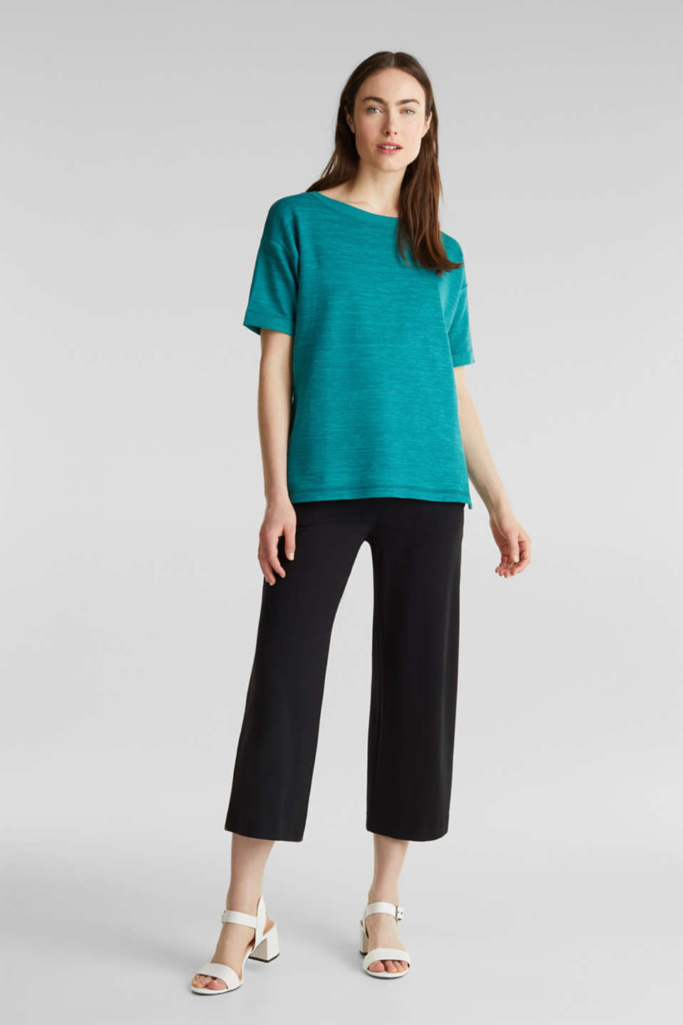 Textured top in blended cotton, TEAL GREEN, detail image number 5