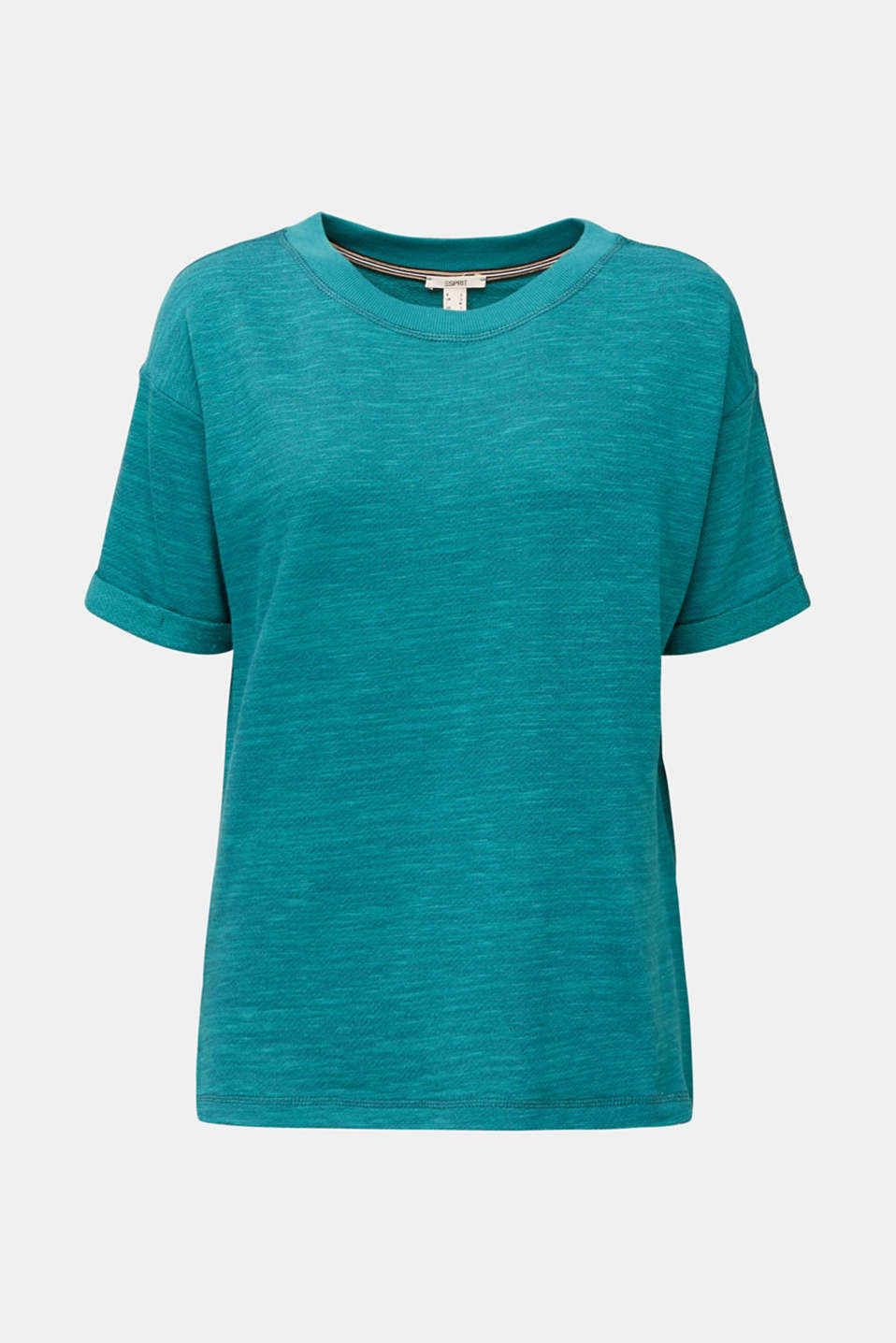 Textured top in blended cotton, TEAL GREEN, detail image number 6
