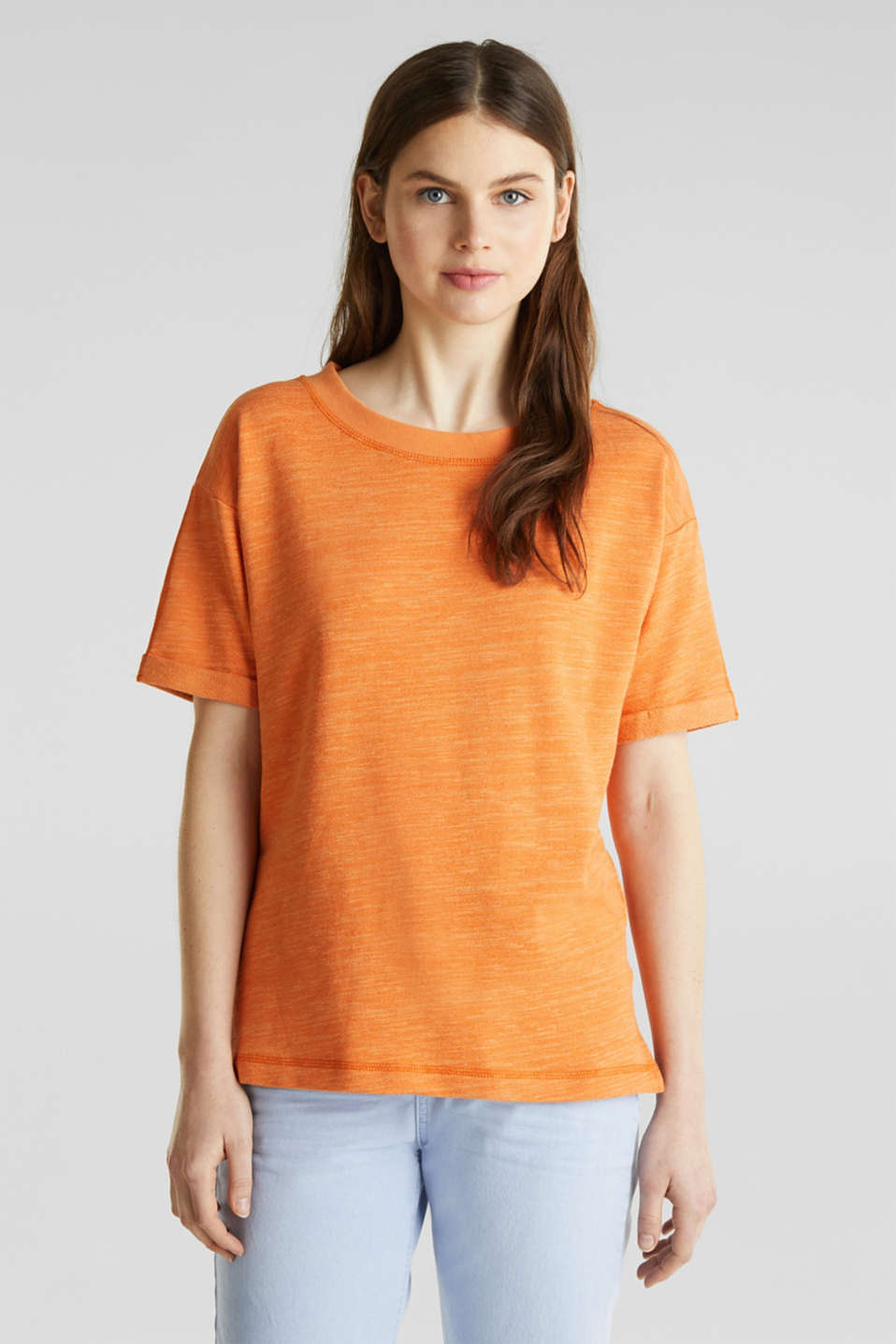 Textured top in blended cotton, RUST ORANGE, detail image number 0
