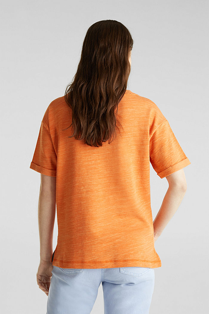 Textured top in blended cotton, RUST ORANGE, detail image number 3