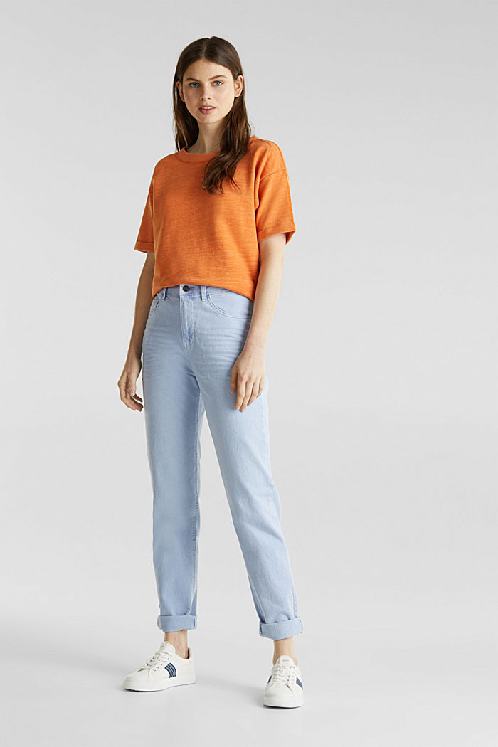 Textured top in blended cotton, RUST ORANGE, detail image number 1