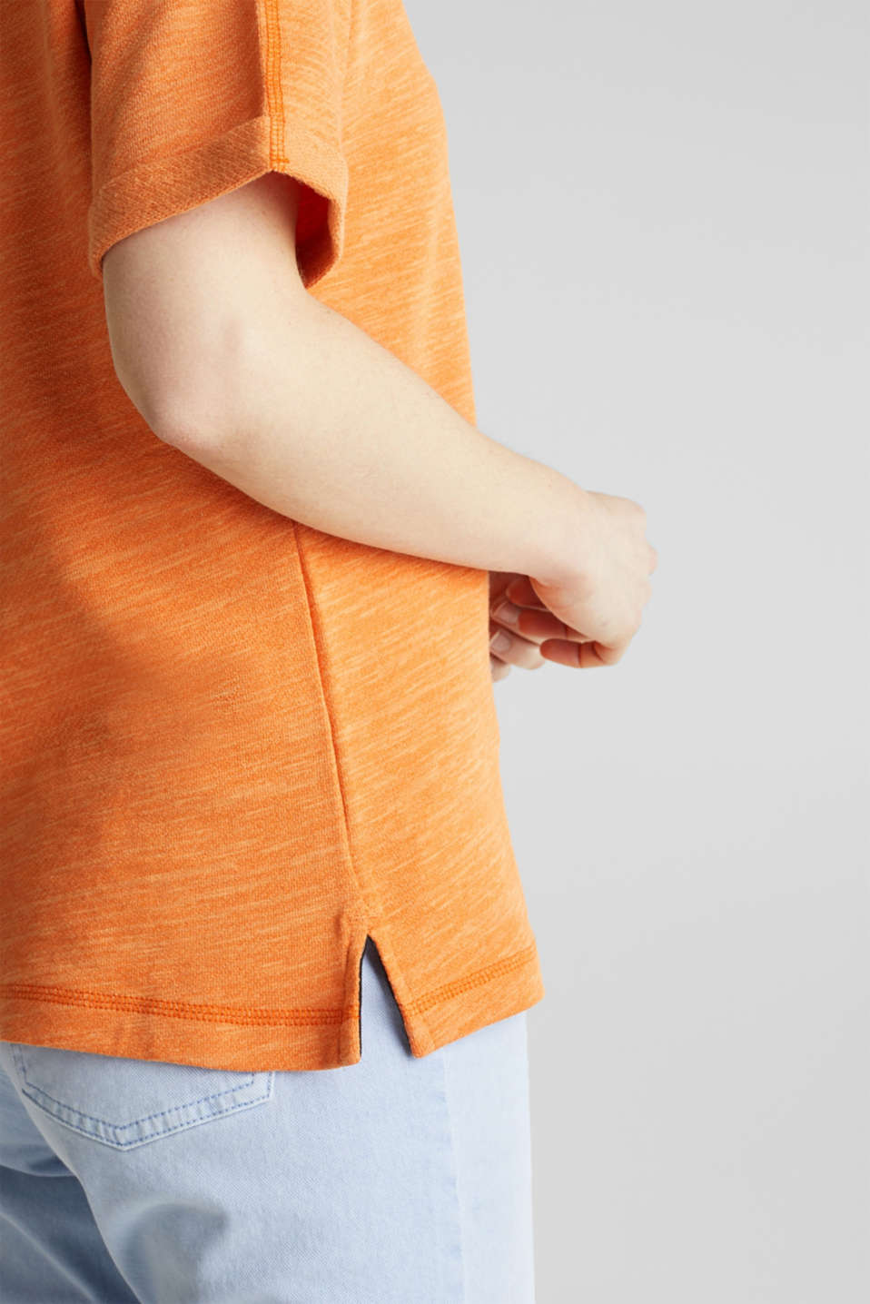 Textured top in blended cotton, RUST ORANGE, detail image number 2