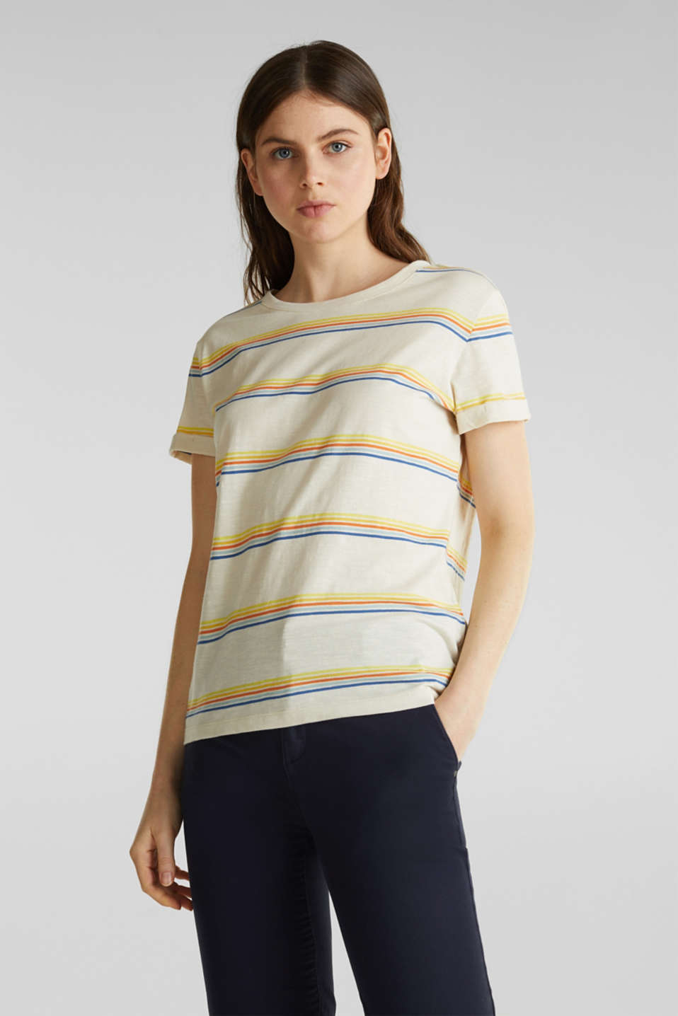 Esprit - Slub T-shirt with stripes, 100% organic cotton