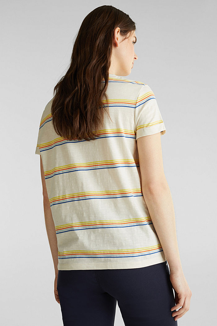 Striped top made of organic cotton, OFF WHITE, detail image number 3