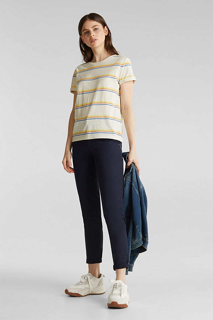 Striped top made of organic cotton, OFF WHITE, detail image number 1