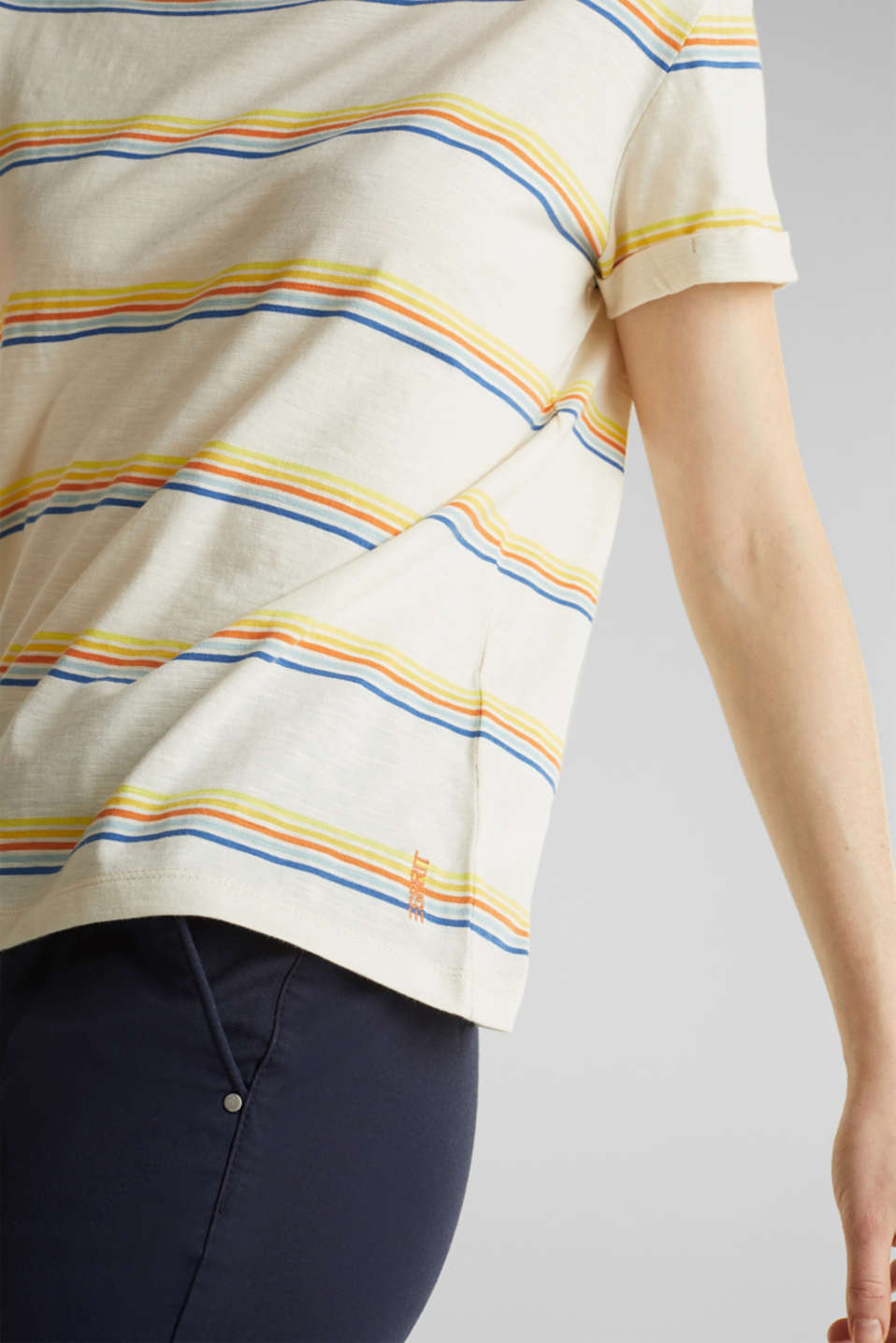Striped top made of organic cotton, OFF WHITE, detail image number 2