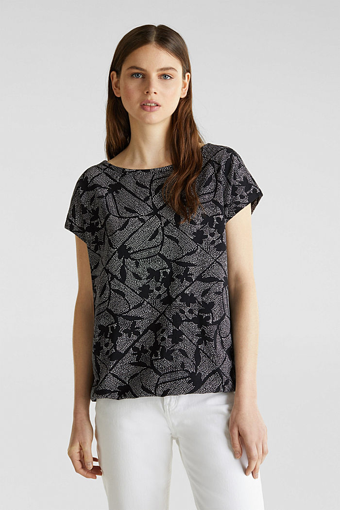 Met linnen: printed shirt met elastiek in de zoom, BLACK, detail image number 0