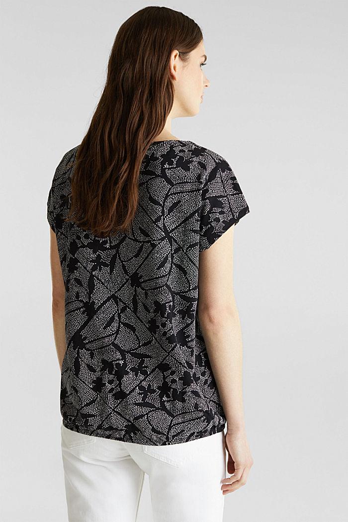 Met linnen: printed shirt met elastiek in de zoom, BLACK, detail image number 3
