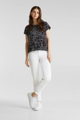 Blended linen: Print T-Shirt with an elasticated hem, BLACK, detail