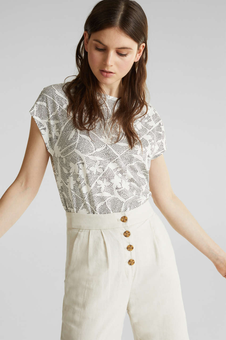 Blended linen: Print T-Shirt with an elasticated hem, OFF WHITE, detail image number 0