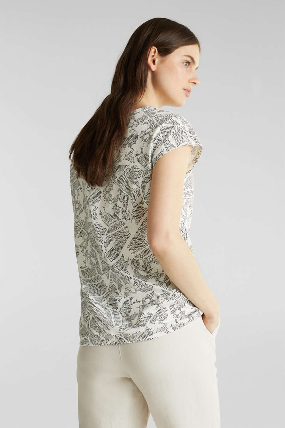 Blended linen: Print T-Shirt with an elasticated hem, OFF WHITE, detail image number 3