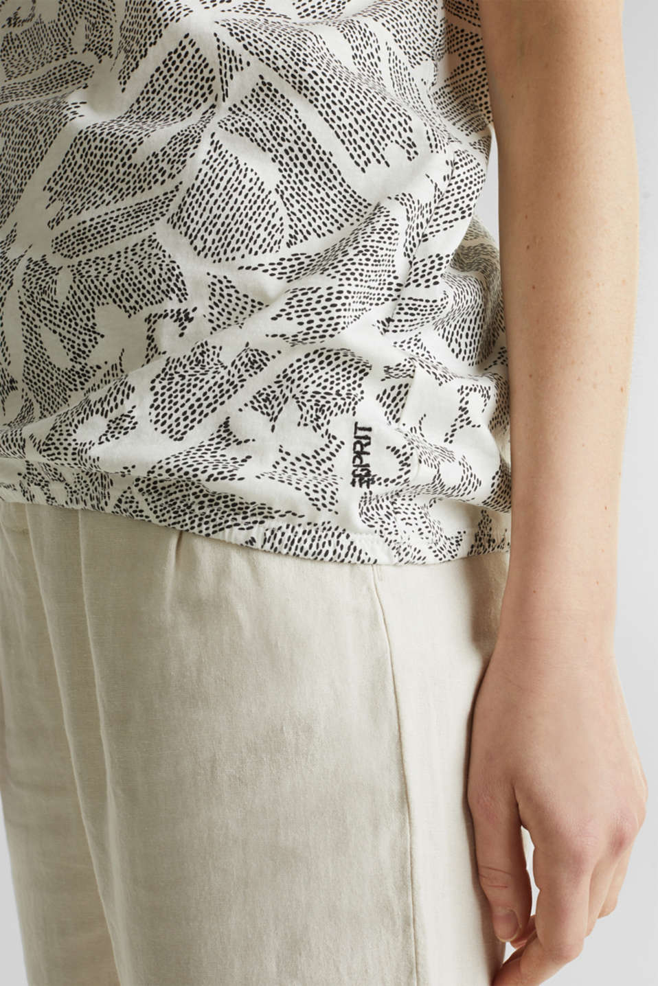 Blended linen: Print T-Shirt with an elasticated hem, OFF WHITE, detail image number 2