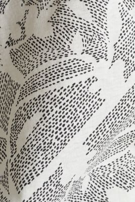 Blended linen: Print T-Shirt with an elasticated hem, OFF WHITE, detail