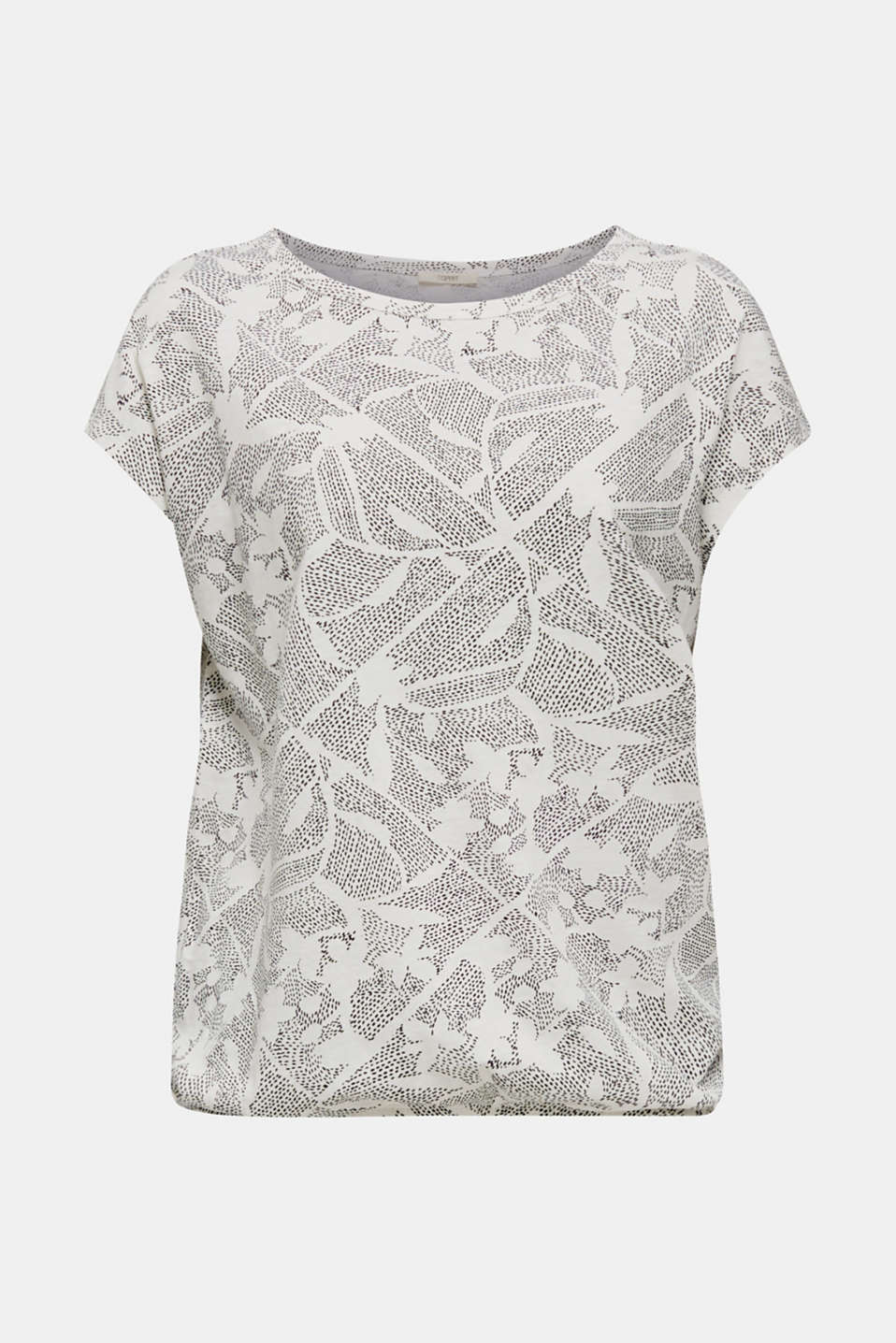 Blended linen: Print T-Shirt with an elasticated hem, OFF WHITE, detail image number 6