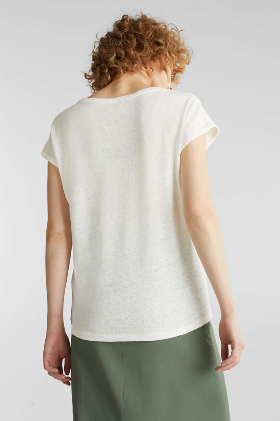 Made of blended linen: clean-look top, OFF WHITE, detail image number 2