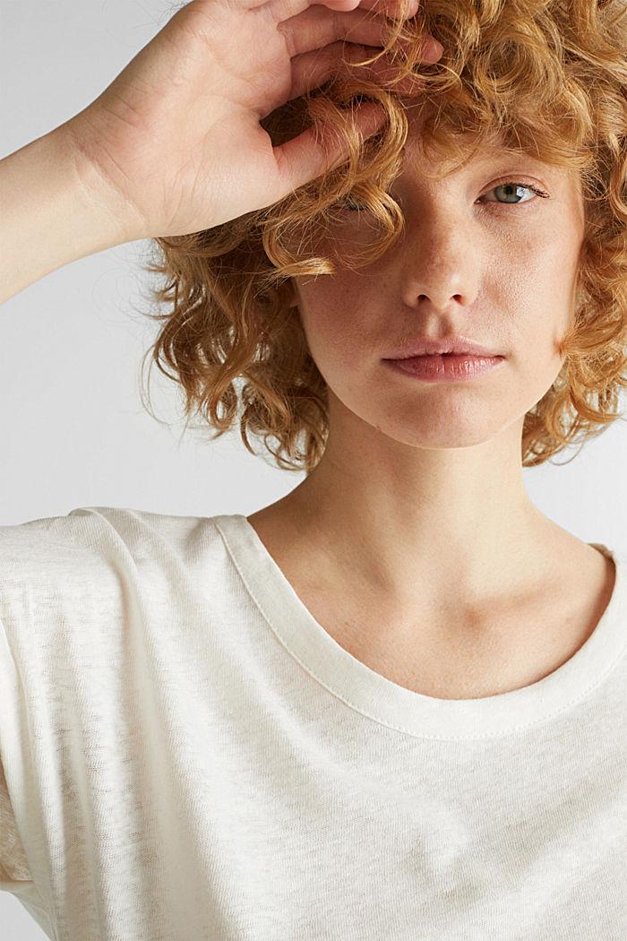 Aus Leinen-Mix: Shirt im Clean-Look, OFF WHITE, detail image number 5