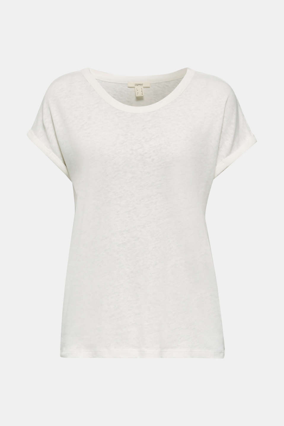 Made of blended linen: clean-look top, OFF WHITE, detail image number 6
