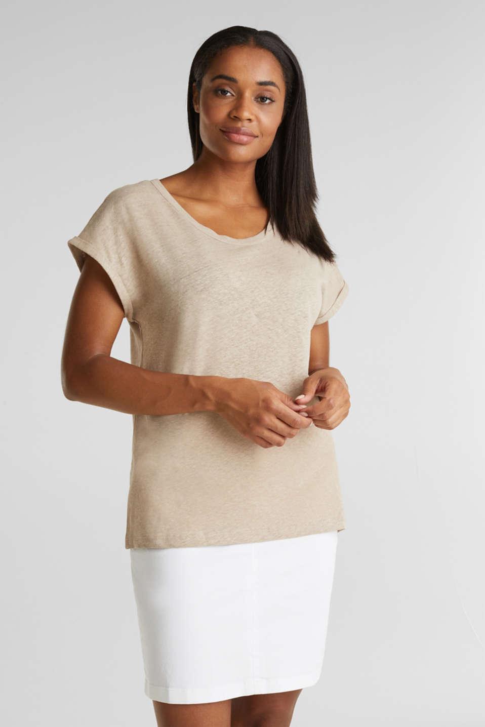Made of blended linen: clean-look top, BEIGE, detail image number 0