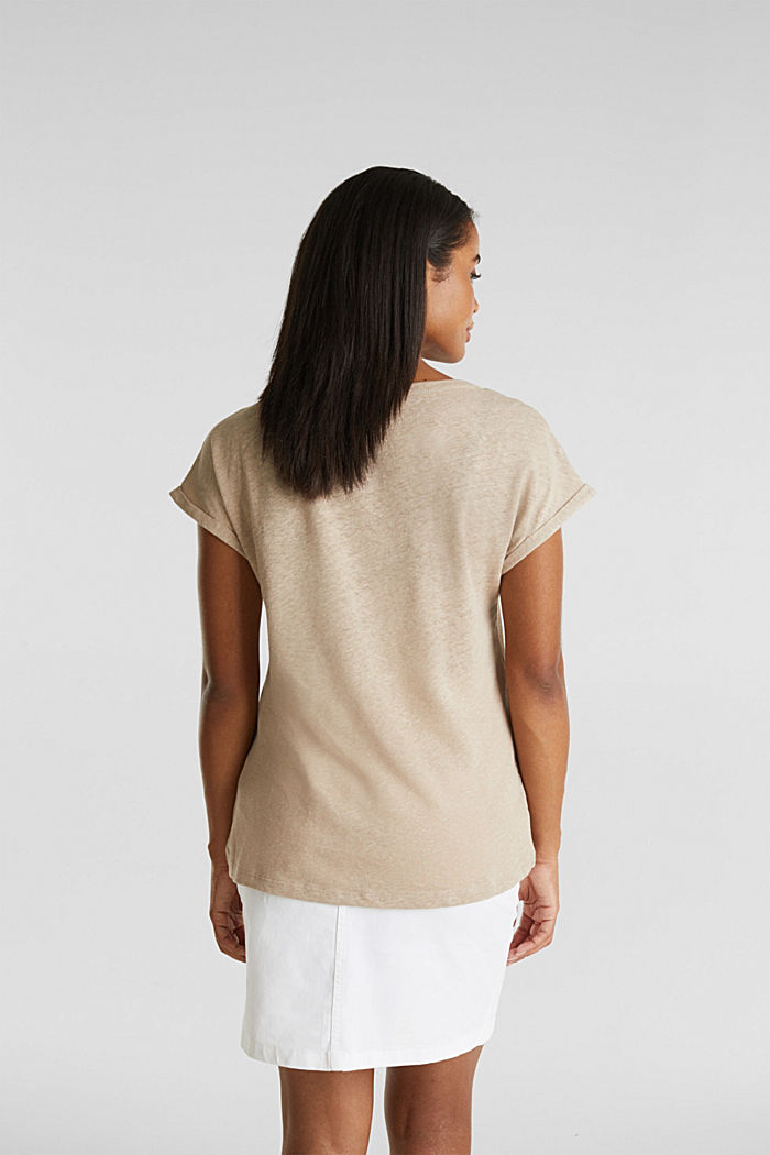 Made of blended linen: clean-look top, BEIGE, detail image number 3