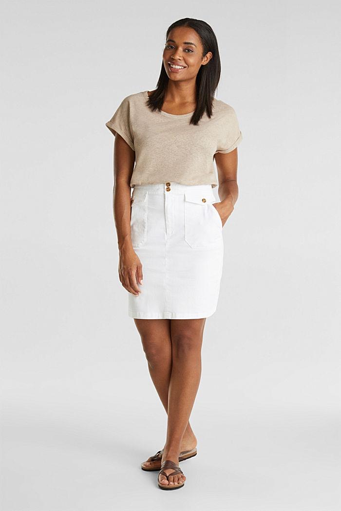 Made of blended linen: clean-look top, BEIGE, detail image number 1
