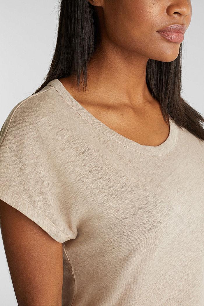 Made of blended linen: clean-look top, BEIGE, detail image number 2