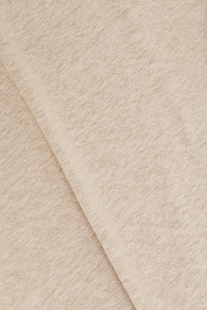 Made of blended linen: clean-look top, BEIGE, detail image number 4