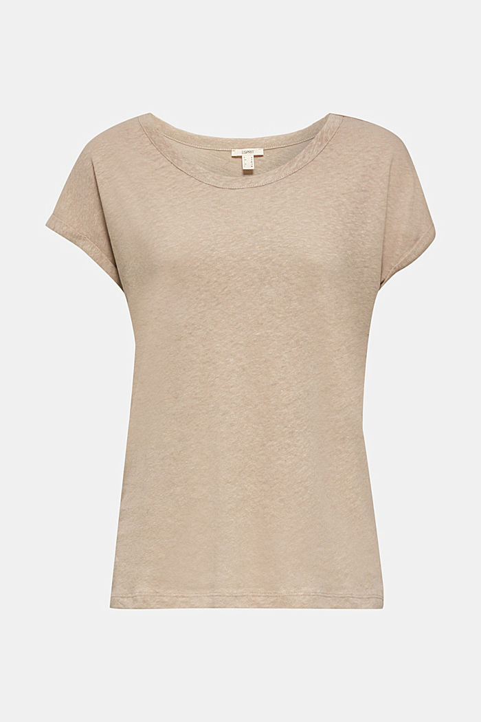 Made of blended linen: clean-look top, BEIGE, detail image number 5
