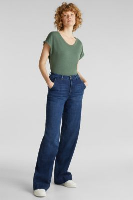 Made of blended linen: clean-look top, KHAKI GREEN, detail