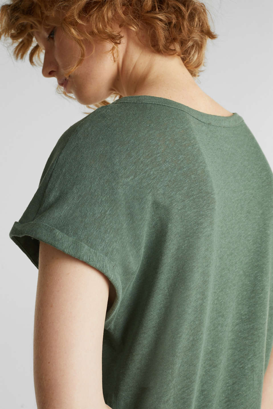 Made of blended linen: clean-look top, KHAKI GREEN, detail image number 2