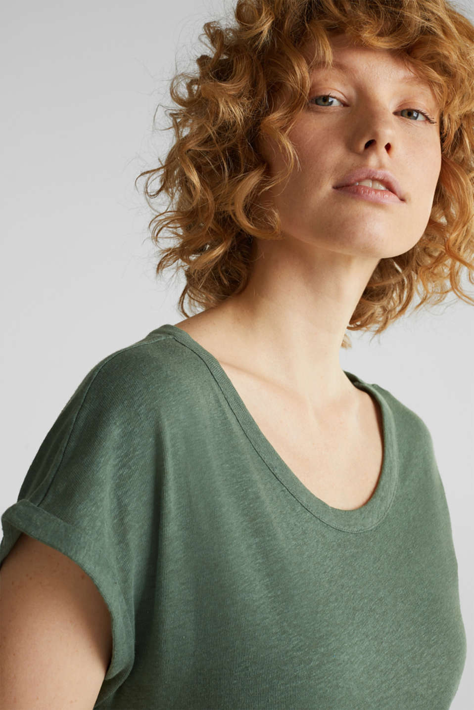 Made of blended linen: clean-look top, KHAKI GREEN, detail image number 5