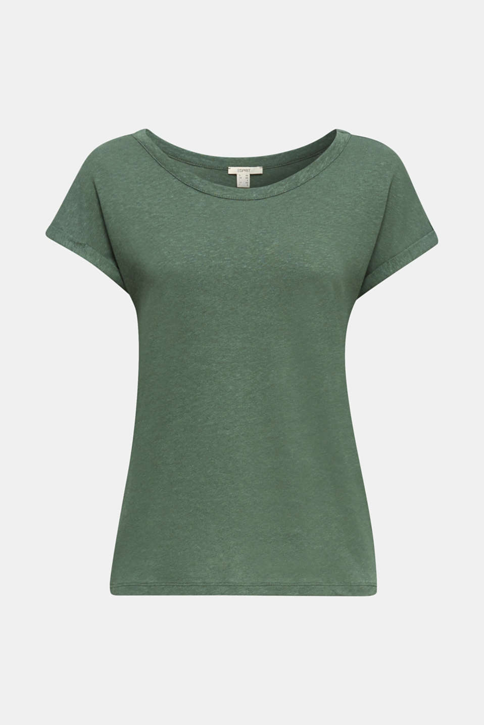 Made of blended linen: clean-look top, KHAKI GREEN, detail image number 6