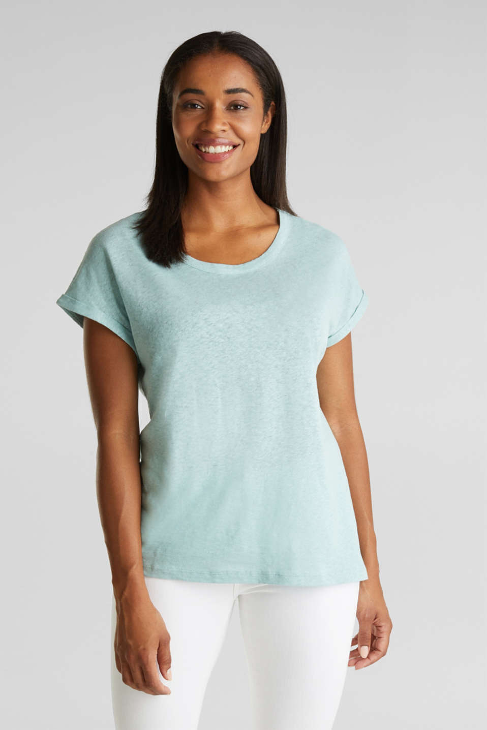 Made of blended linen: clean-look top, LIGHT AQUA GREEN, detail image number 0