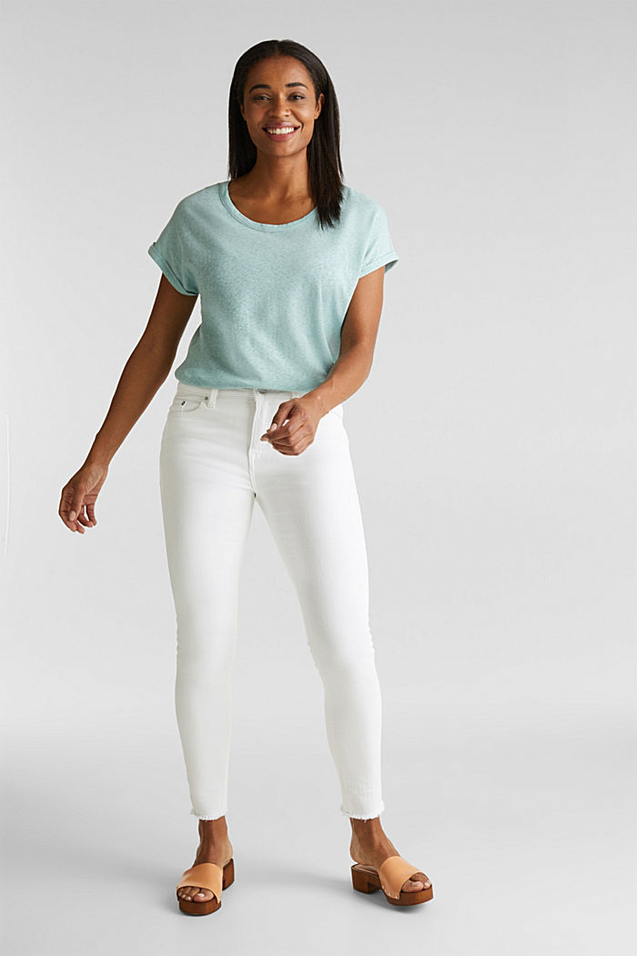 Made of blended linen: clean-look top, LIGHT AQUA GREEN, detail image number 1