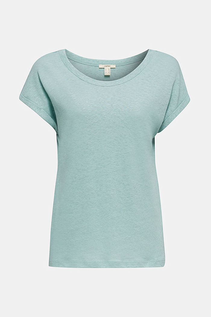 Made of blended linen: clean-look top, LIGHT AQUA GREEN, detail image number 5