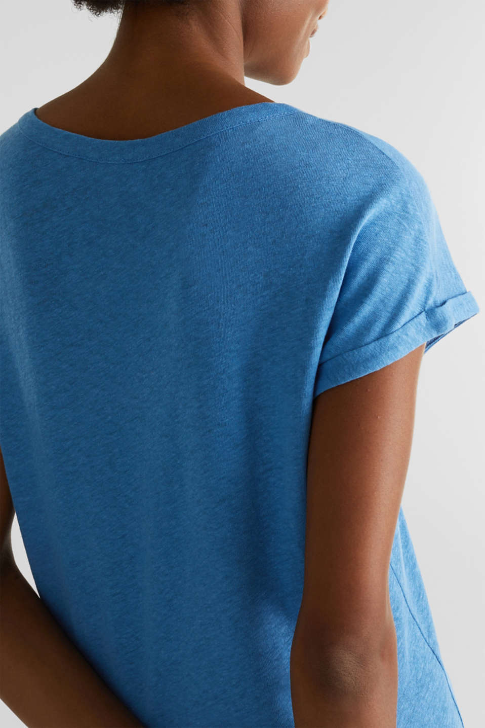 Made of blended linen: clean-look top, BRIGHT BLUE, detail image number 3