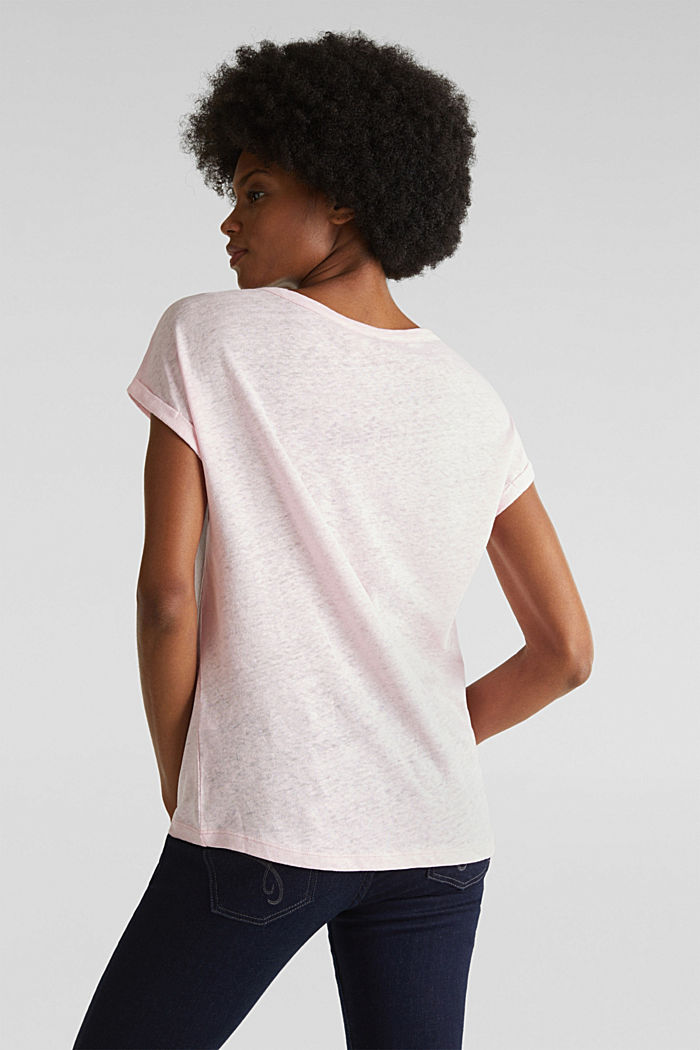 Made of blended linen: clean-look top, PASTEL PINK, detail image number 2