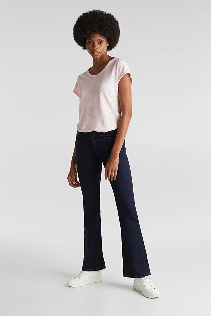 Van een linnenmix: shirt met een minimalistische look, PASTEL PINK, detail image number 1