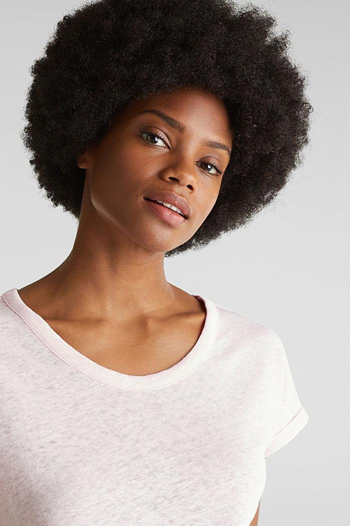 Van een linnenmix: shirt met een minimalistische look, PASTEL PINK, detail image number 5