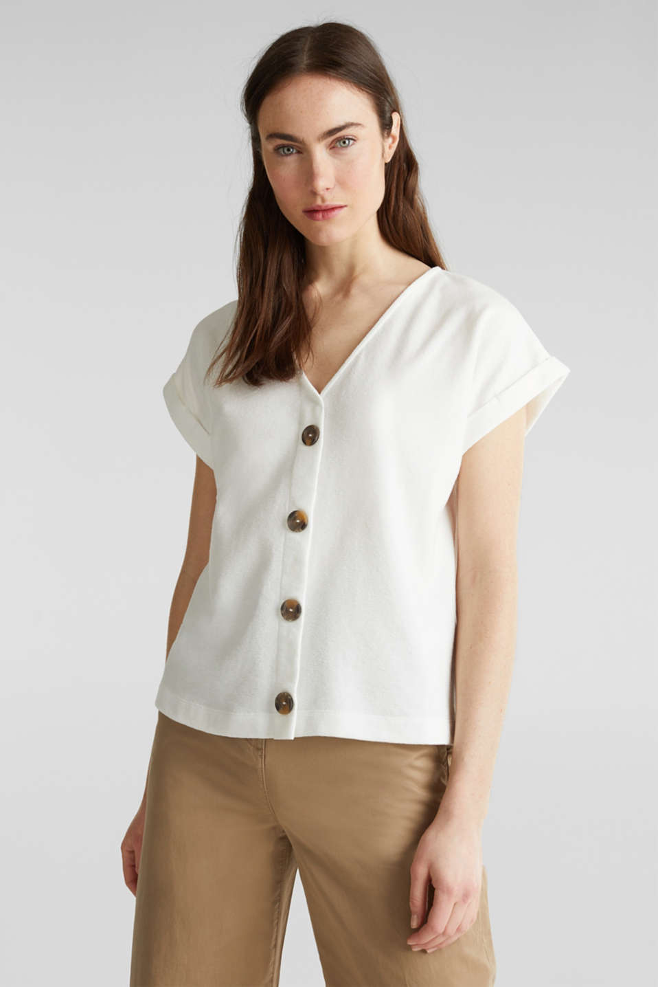 Textured T-shirt with button placket, 100% cotton, OFF WHITE, detail image number 0