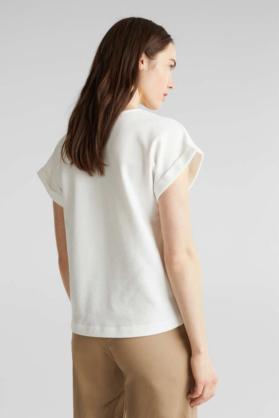Textured T-shirt with button placket, 100% cotton, OFF WHITE, detail image number 3