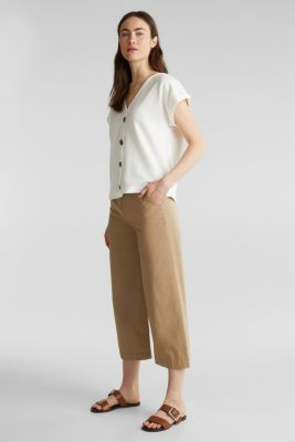 Textured T-shirt with button placket, 100% cotton, OFF WHITE, detail