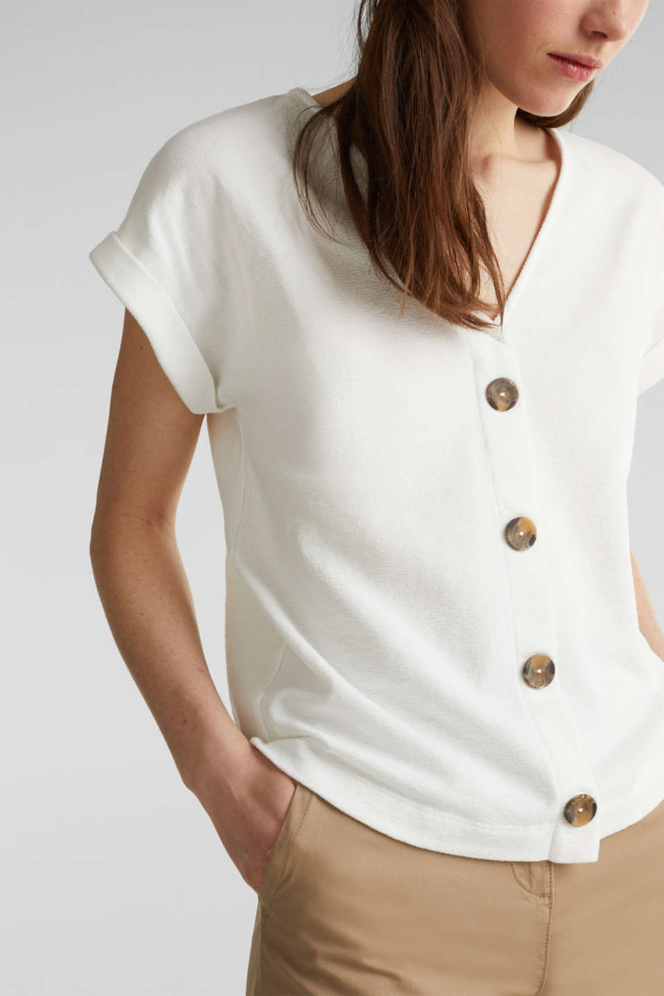 Textured T-shirt with button placket, 100% cotton, OFF WHITE, detail image number 2