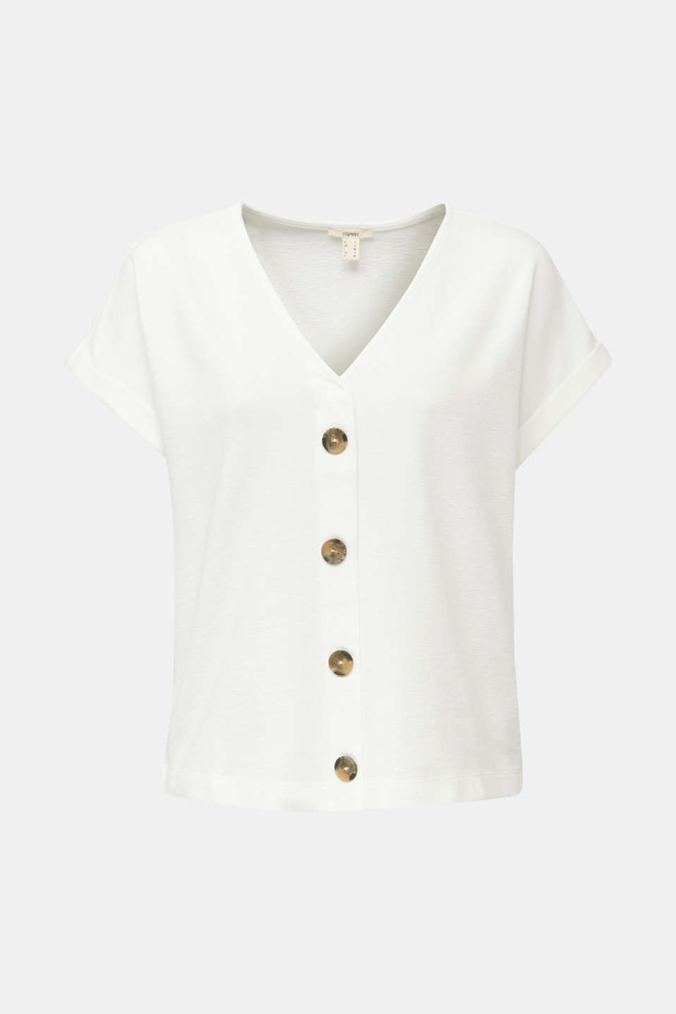 Textured T-shirt with button placket, 100% cotton, OFF WHITE, detail image number 6