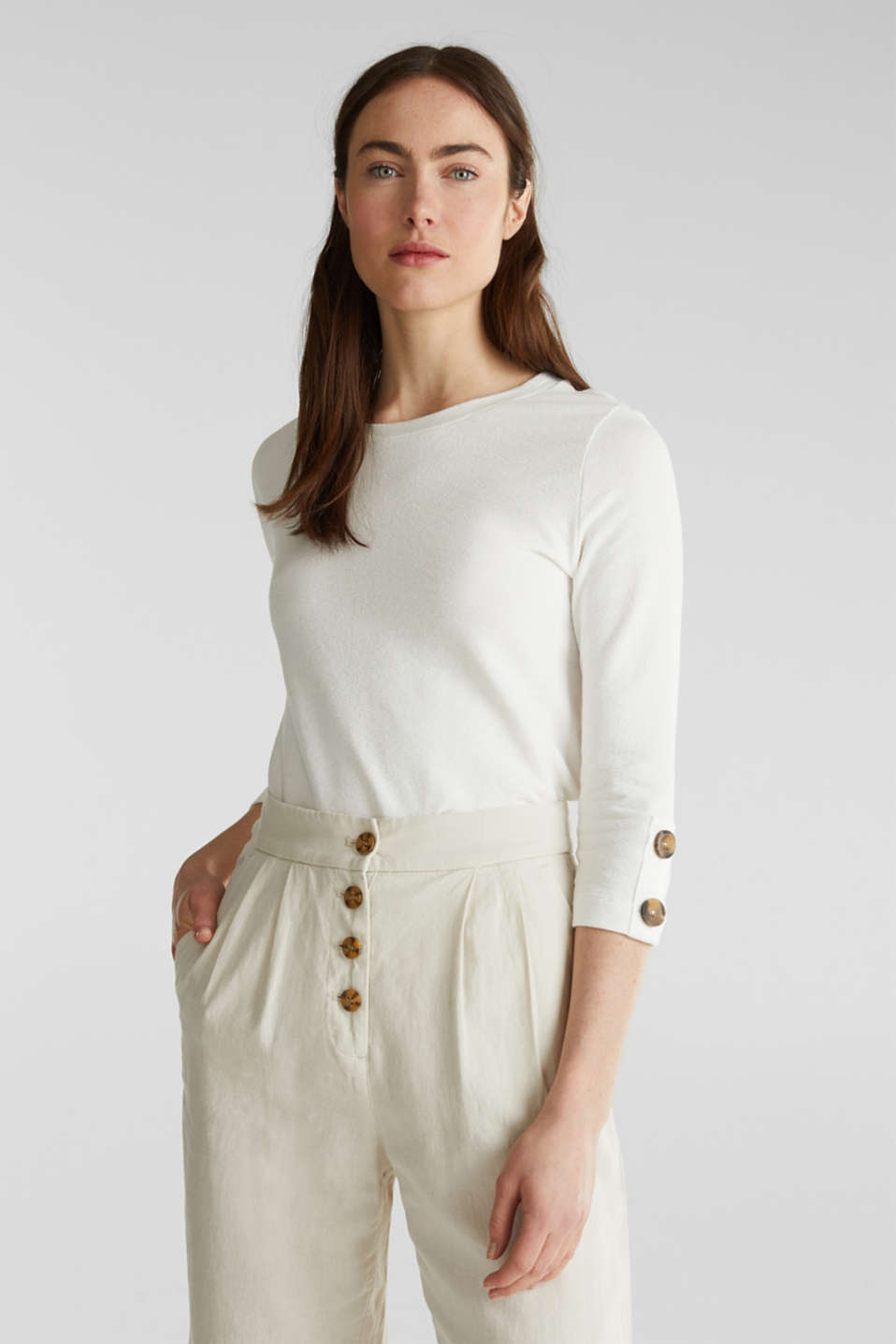 Top with buttons, 100% cotton, OFF WHITE, detail image number 0