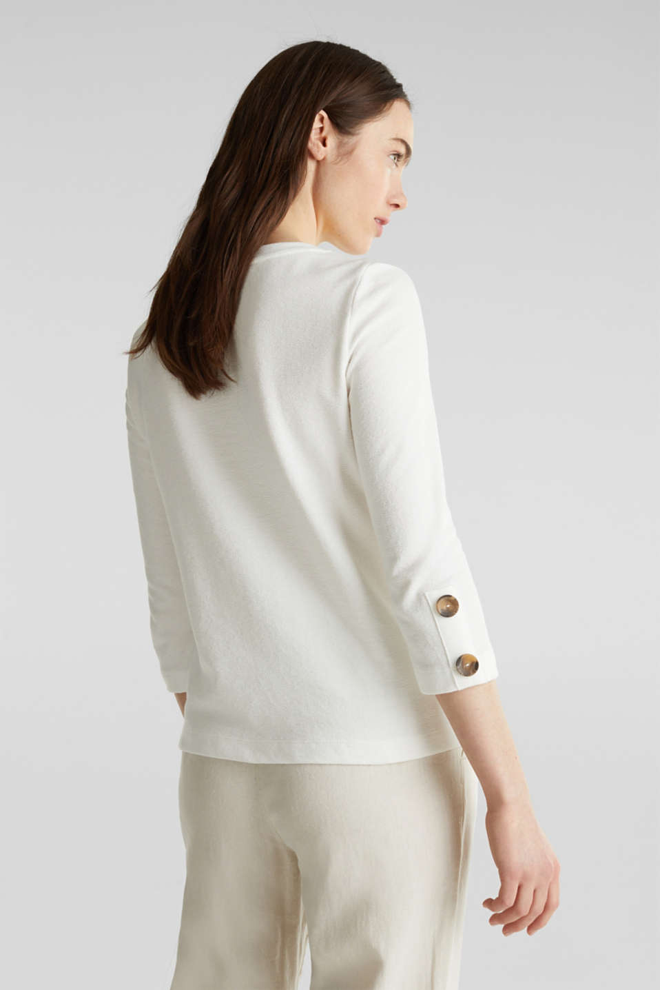 Top with buttons, 100% cotton, OFF WHITE, detail image number 3