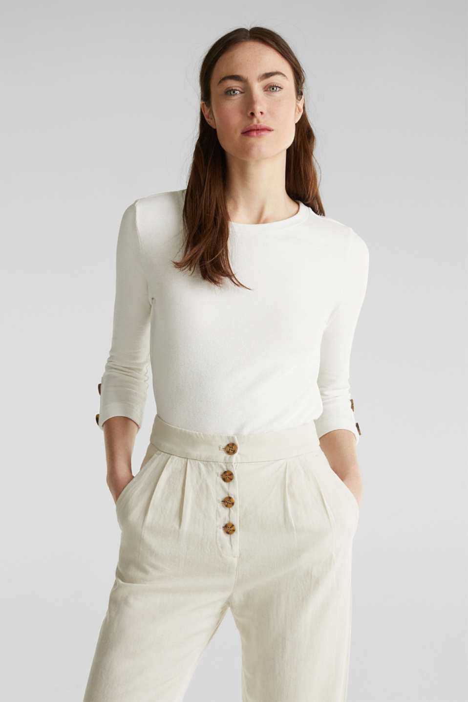 Top with buttons, 100% cotton, OFF WHITE, detail image number 5