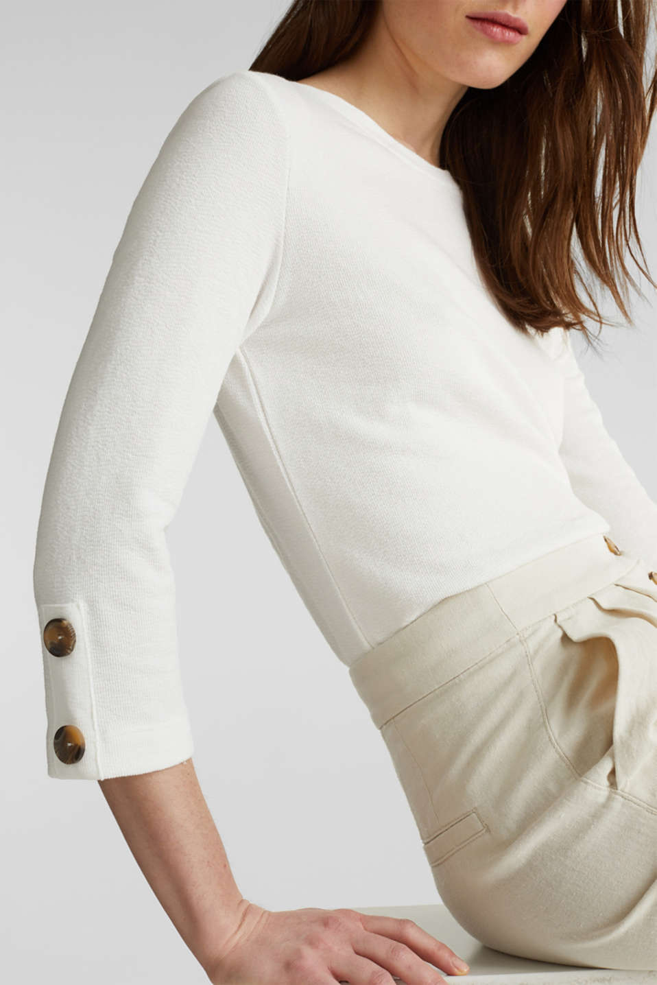 Top with buttons, 100% cotton, OFF WHITE, detail image number 2