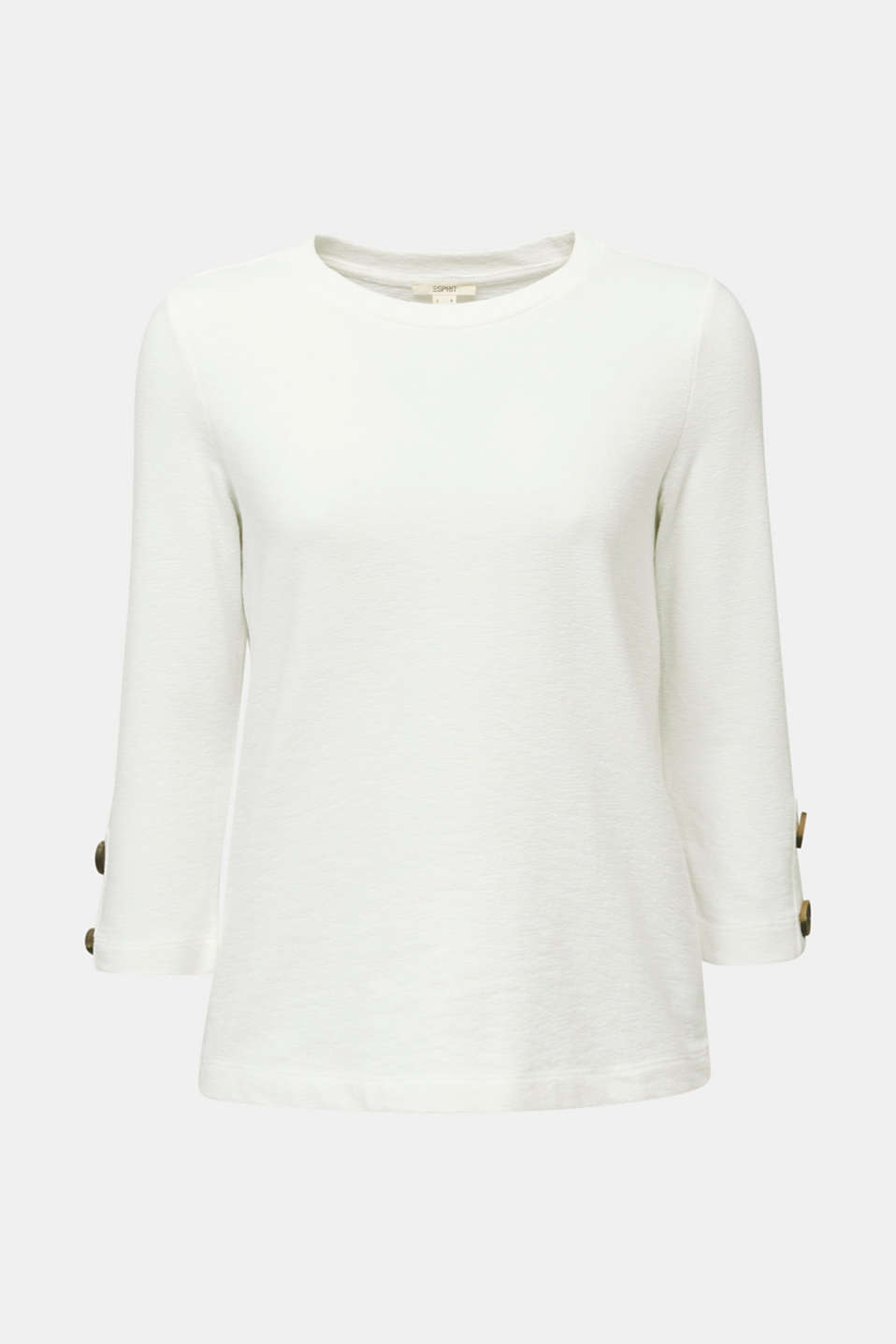 Top with buttons, 100% cotton, OFF WHITE, detail image number 6